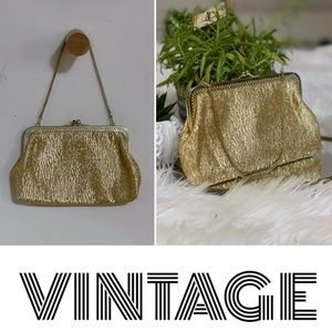 Vintage gold textile evening bag w/ gold hardware